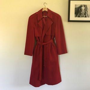 Vintage Red Midi Trench Coat